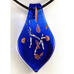 Murano Inspired Glass Silver and Gold Flecked Blue Leaf Pendant