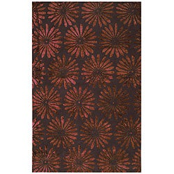 Tufted Flori Gianti Cranberry Wool - 5' x 8' - Thumbnail 0