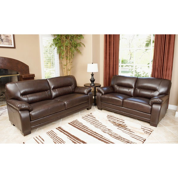 ABBYSON LIVING Wilshire Premium Top-grain Leather Sofa and Loveseat Set