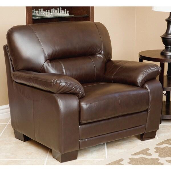 Abbyson Wilshire Premium Top-grain Leather Armchair