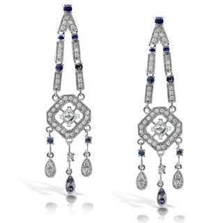 Annello 18k Gold Sapphire and 7/8ct TDW Diamond Earrings (H-I, SI1-SI2)