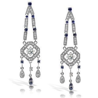 Annello by Kobelli 18k Gold Sapphire and 7/8ct TDW Diamond Earrings (H-I, SI1-SI2)