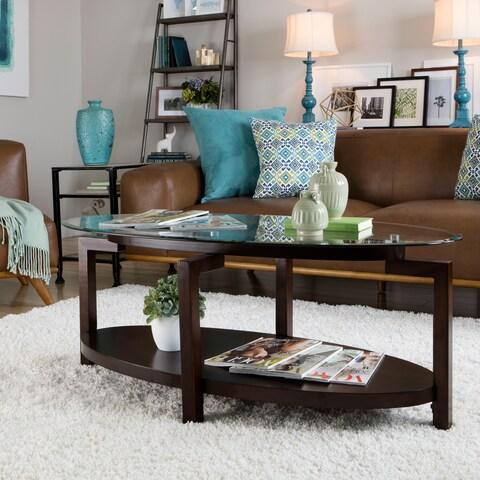 Strick & Bolton Tanner Espresso Coffee Table with Shelf
