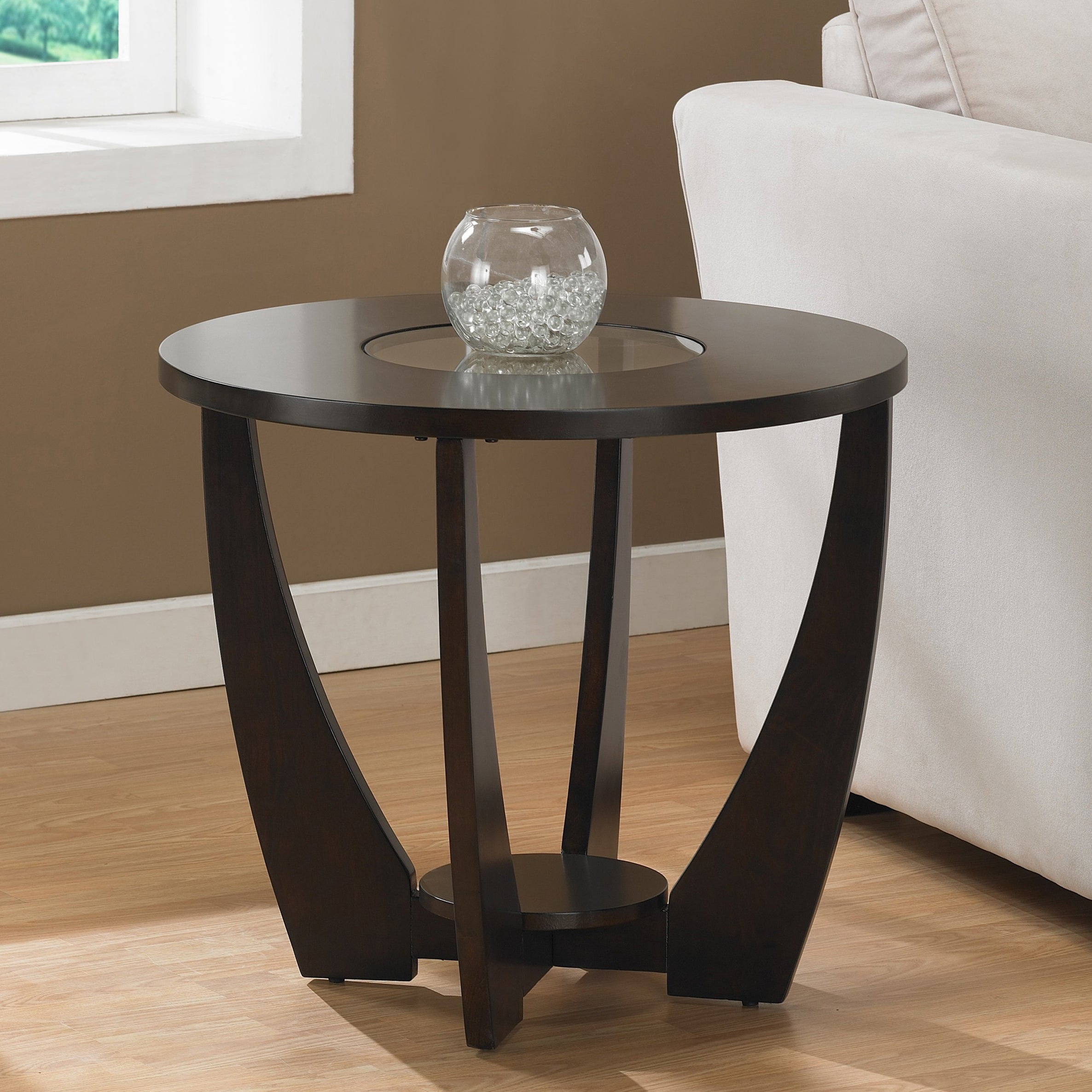 End Tables Living Room Display Shelf Modern Espresso Round