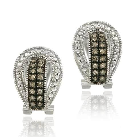 DB Designs Sterling Silver 1/3ct TDW Brown Diamond Buckle Earrings