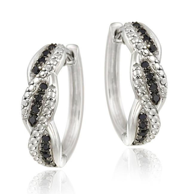 DB Designs Sterling Silver 1/4ct TDW Black Diamond Hoop Earrings