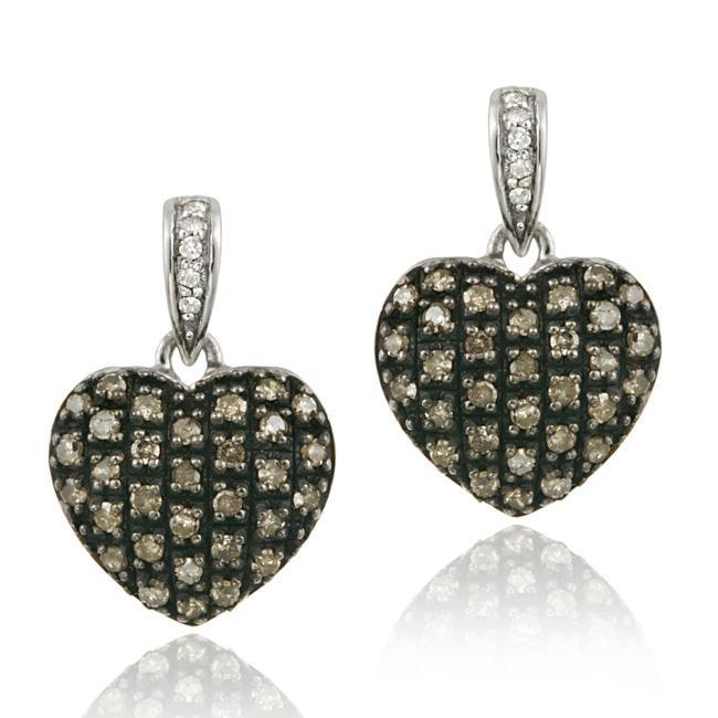 DB Designs Sterling Silver 3/4ct TDW Brown/ White Diamond Heart Earrings