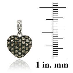 DB Designs Sterling Silver 3/4ct TDW Brown/ White Diamond Heart Earrings - Thumbnail 2
