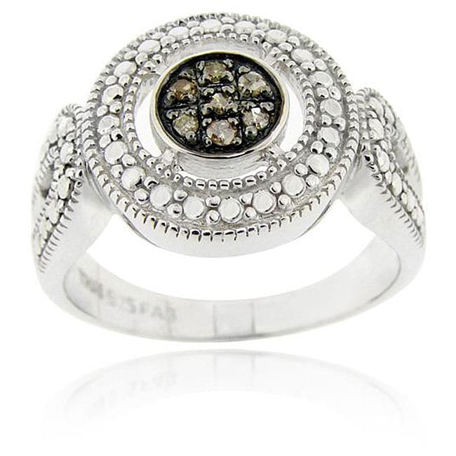 DB Designs Sterling Silver Brown Diamond Accent Cluster Ring - Thumbnail 0