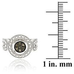 DB Designs Sterling Silver Brown Diamond Accent Cluster Ring - Thumbnail 2