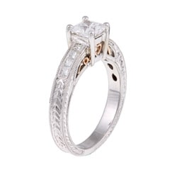14k Gold 1/4ct TDW Designer Diamond and CZ Center Engagement Ring (H, SI1) - Thumbnail 1