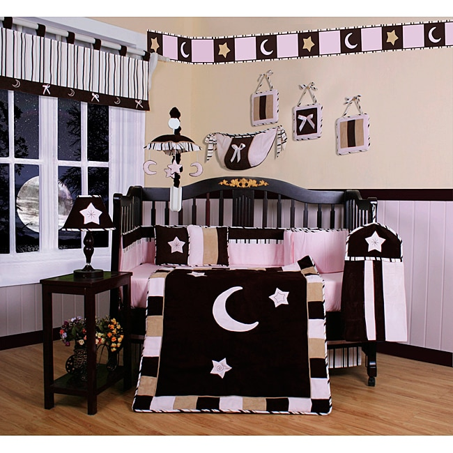 Pink Moon and Star 13-piece Crib Bedding Set
