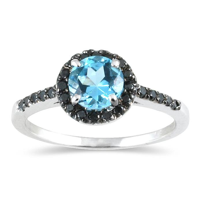 Marquee Jewels 10k White Gold Blue Topaz and 1/4ct TDW Black Diamond Ring