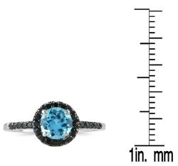 Marquee Jewels 10k White Gold Blue Topaz and 1/4ct TDW Black Diamond Ring - Thumbnail 2