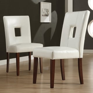 TRIBECCA HOME Alsace White Faux Leather Side Chairs (Set of 2)