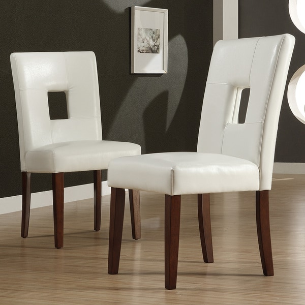 White Leather Dining Room Set: Shop Alsace White Faux Leather Dining Chairs (Set Of 2) By