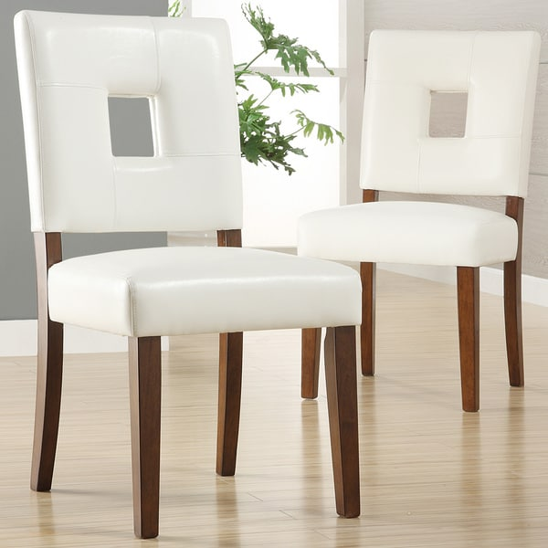 Shop Calvados Faux Leather White Dining Chairs (Set Of 2