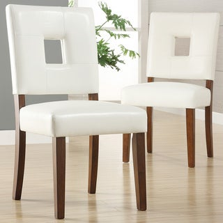 Calvados Faux Leather White Dining Chairs (Set of 2) by iNSPIRE Q Classic