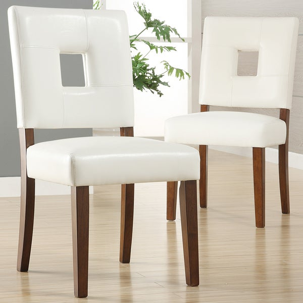 TRIBECCA HOME Calvados Faux Leather White Side Chairs (Set