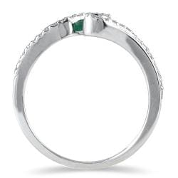 Marquee Jewels 10k White Gold Emerald and 1/6ct TDW Diamond Ring (H-I, I1-I2)