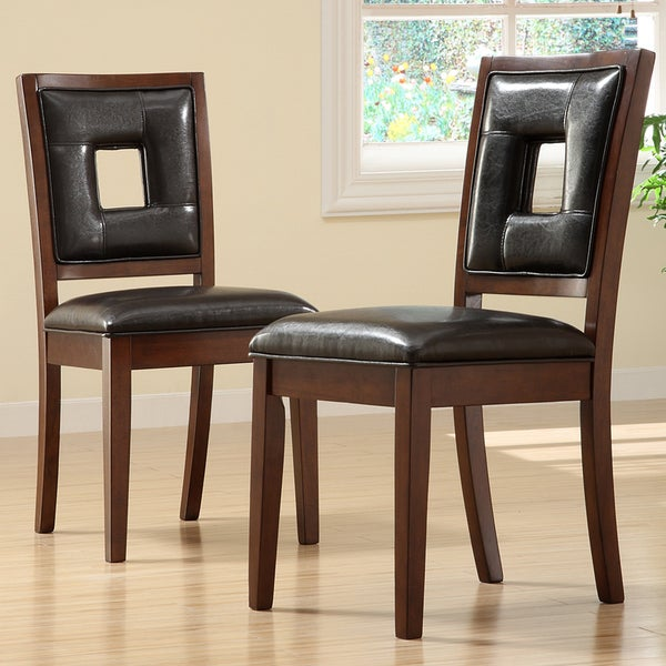 TRIBECCA HOME Dijon Dark Brown Faux Leather Dining Chairs