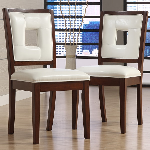 Tribecca home dijon white faux leather dining chairs set for Dining room furniture 0 finance