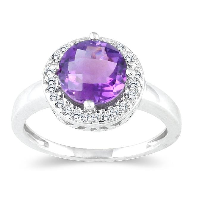Marquee Jewels 10k White Gold Amethyst and 1/6ct TDW Diamond Ring (H-I, I1-I2)
