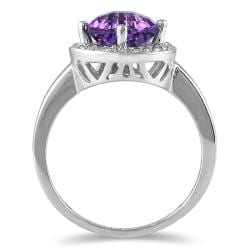 Marquee Jewels 10k White Gold Amethyst and 1/6ct TDW Diamond Ring (H-I, I1-I2) - Thumbnail 1