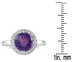 Marquee Jewels 10k White Gold Amethyst and 1/6ct TDW Diamond Ring (H-I, I1-I2) - Thumbnail 2