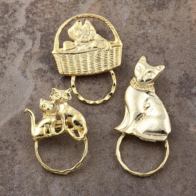 Detti Pin GoldPind Cat Glasses Holder (Set of 3)