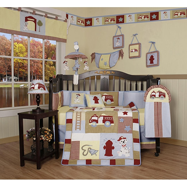 Geenny Fire Truck 13-piece Crib Bedding Set - Free ...
