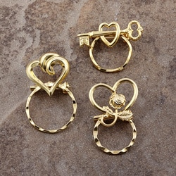 Detti Pin Gold-plated Hearts Glasses Holders (Set of 3)