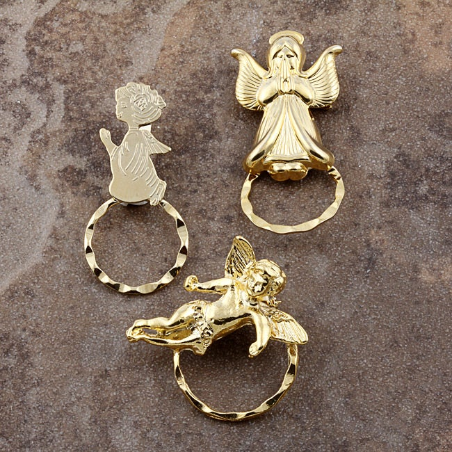 Detti Pin Gold-plated Angels Glasses Holder (Set of 3)