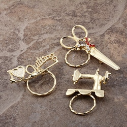Detti Pin Gold-Plated Brass Sewing Glasses Holder (Set of Three)