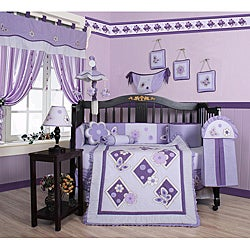 Geenny Lavender Butterfly 13-piece Crib Bedding Set