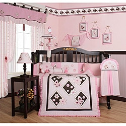 Geenny Pink Butterfly 13-piece Crib Bedding Set