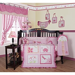 Geenny Pink Dragonfly 13-piece Crib Bedding Set