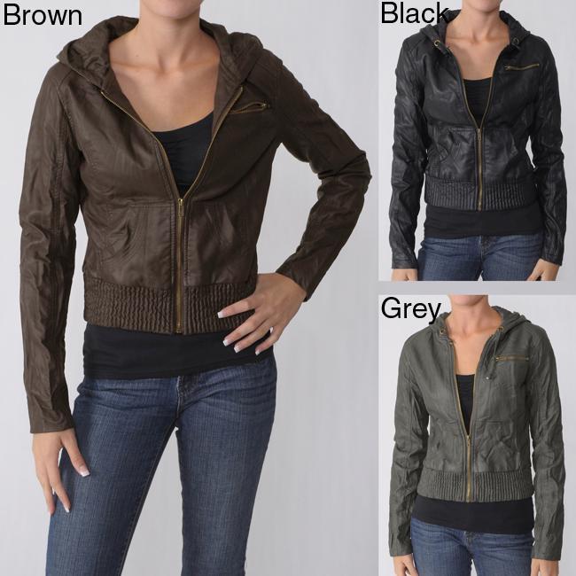 Ci Sono by Adi Junior's Zipper Detail Faux Leather Jacket