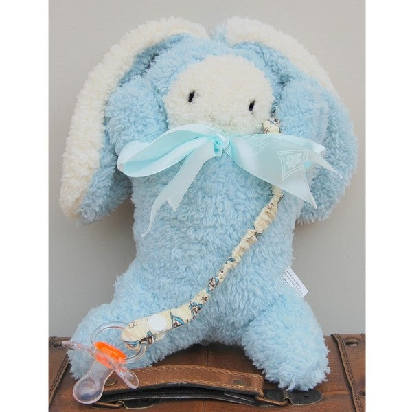 Mia Belle Baby Plush Blue Bunny Pacifier Holder Gift Set