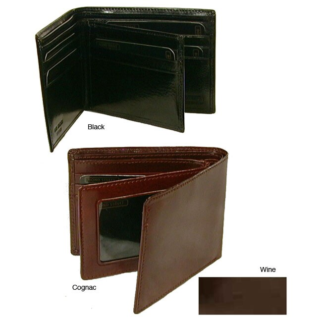 Hand Stained Italian Leather, Classic Billfold Wallet with Wing