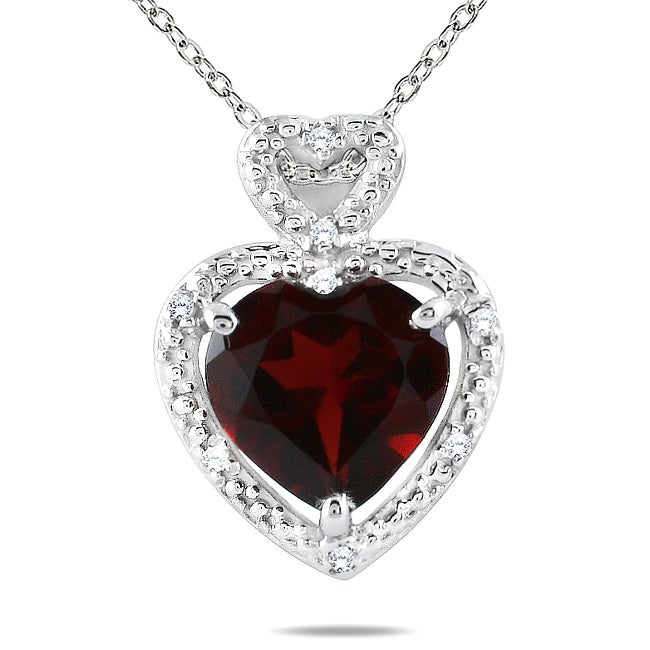 Marquee Jewels 10k White Gold Garnet and Diamond Heart Necklace