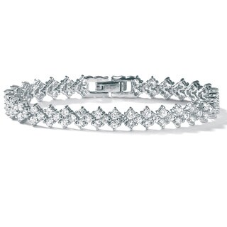 "PalmBeach 9.20 TCW Round Cubic Zirconia Platinum over Sterling Silver Tennis Bracelet 7 1/2"" Glam CZ"