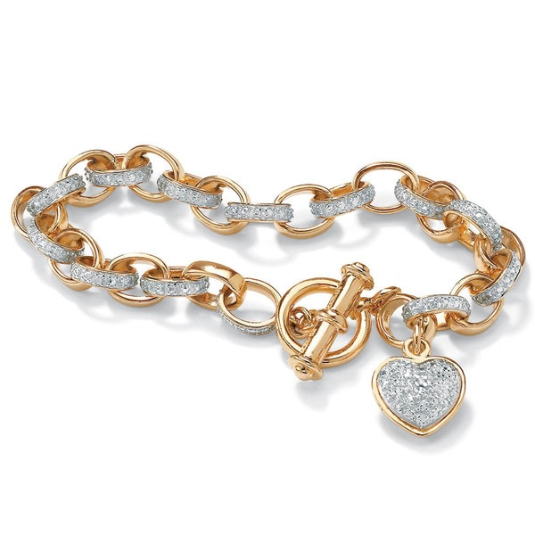 PalmBeach Gold or Platinum over Sterling Silver Diamond Accent Heart Charm Bracelet
