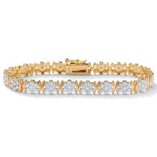 1/4 TCW Round Diamond Flower Tennis Bracelet in 18k Gold over Sterling Silver|https://ak1.ostkcdn.com/images/products/5233668/P13057882.jpg?impolicy=medium