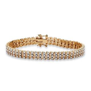 "Diamond Accent 18k Gold over Sterling Silver ""S"" Link Tennis Bracelet 8"""