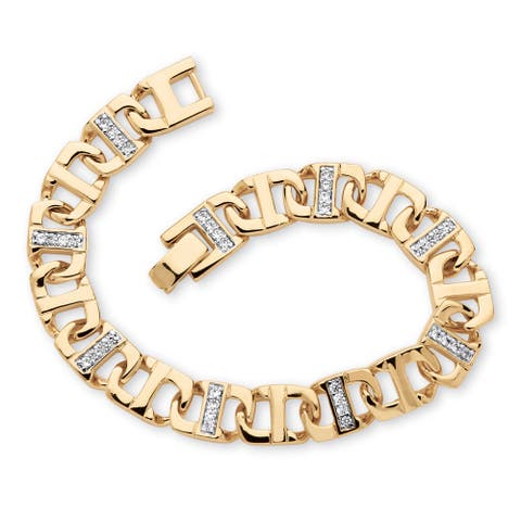 "Men's Yellow Gold-Plated Mariner Mariner Bracelet (10mm), Round Cubic Zirconia, 8"""