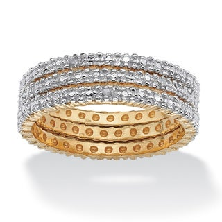 PalmBeach 3 Piece Diamond Accented Eternity Band Set in 18k Gold over Sterling Silver