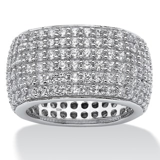 PalmBeach 3.00 TCW Pave Cubic Zirconia Multi-Row Eternity Band in Sterling Silver Glam CZ