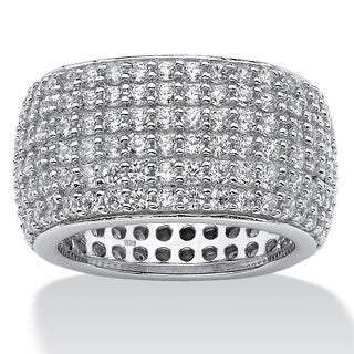 Sterling Silver Cubic Zirconia Pave Multi Row Eternity- Bridal Ring - White