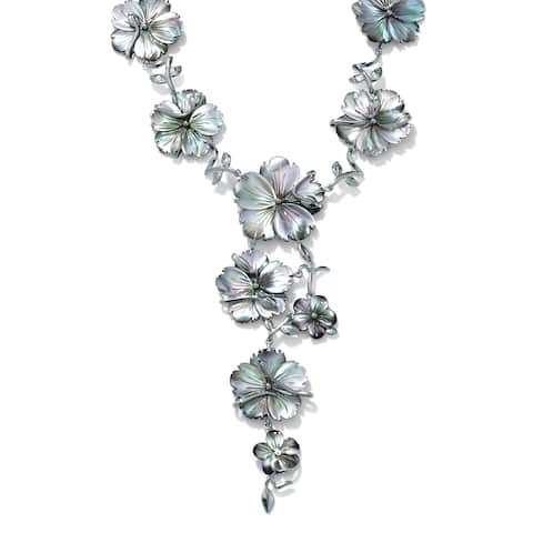 """Silver Tone Y Neck Necklace (46mm), Flower Shaped Genuine Black, Mother of Pearl, 18"""""""